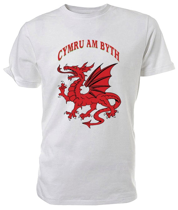 Cymru am Byth Welsh Dragon T shirt. classic round neck short sleeved choice of sizes and colours,