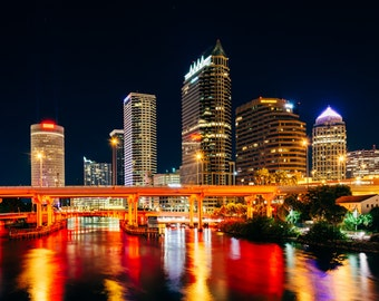 The skyline and bridges over the Hillsborough River at night in Tampa, Florida - Urban Photography Fine Art Print or Wrapped Canvas