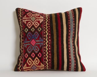 Handwoven Vintage Kilim Pillows - DecorativeBohemian Turkish Ethnic Striped Couch Cushion Throw Pillows Accent Pillows Floor Pillows