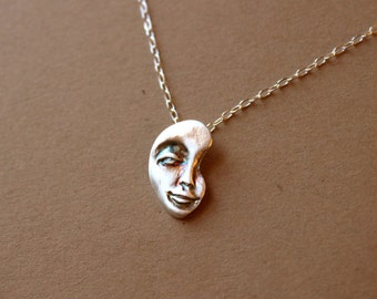 Fine silver Face Pendant Necklace - Sterling Silver Necklace - PMC Jewelry - Metalwork - Mask