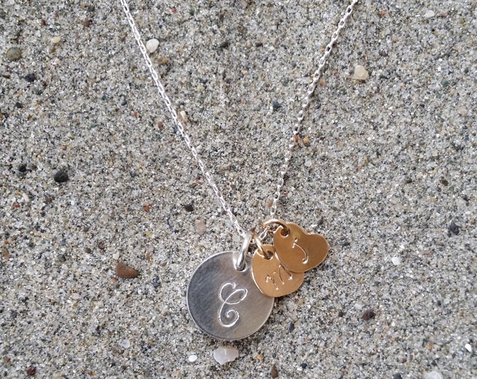 Mothers Necklace, Initial Necklace, Sterling Silver, Gold heart