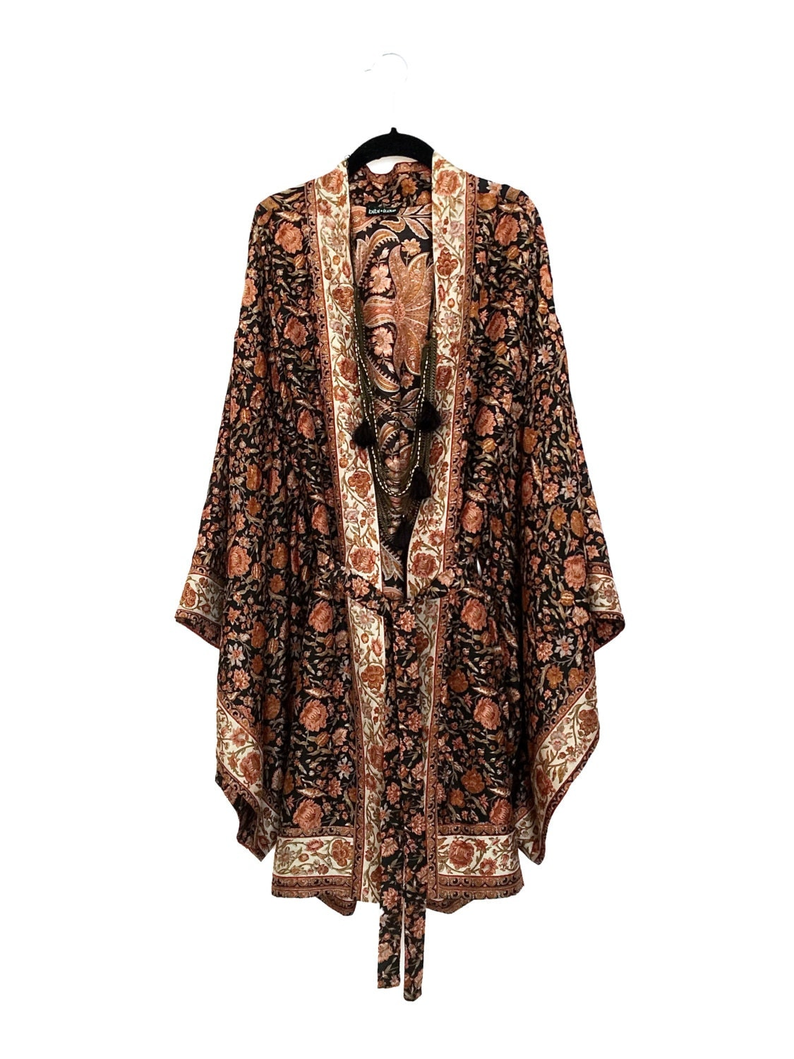 Silk Long Kimono Jacket Beach Cover Up With Wide By Bibiluxe
