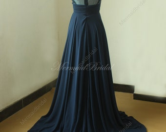Backless Navy blue A line chiffon lace wedding dress with illusion neckline