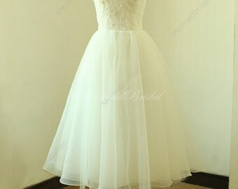 Vintage tea length lace wedding dress, short wedding dress, destination wedding dress