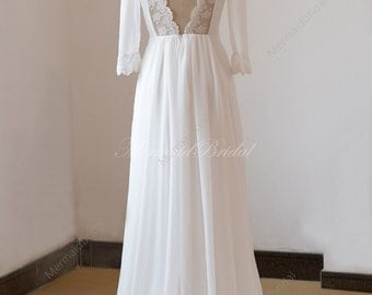 Lace open back ivory a line chiffon wedding dress with mid sleeves