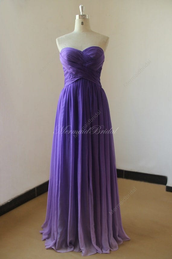 Purple ombre tencel bridesmaid dressprom dress with for Purple ombre wedding dress
