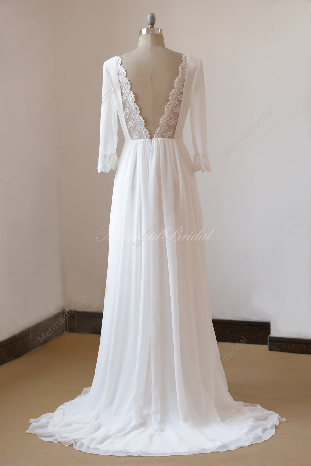 Lace open back ivory a line chiffon wedding dress with mid for A line lace open back wedding dress
