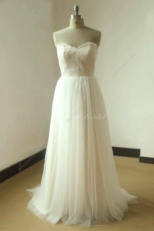 Roamantic Flowy Ivory Lace A Line Beach Destination Wedding