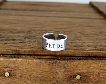 Pride Ring - Gay Pride - LGBTQ - Aluminum Adjustable Cuff Ring