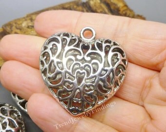 Large Antique Silver HEART Charm Pendant -  Focal Component  Jewelry Making Supplies - MC0516