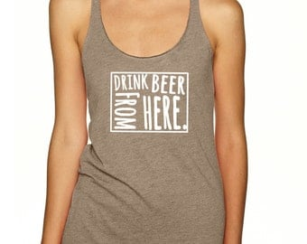 Craft Beer Shirt- Wyoming- WY- Drink Beer From Here- Women's racerback tank