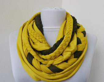 Yellow & Moss Green Loop Scarf - Infinity Jersey Scarf - Partially braided Circle Scarf - Scarf Nekclace