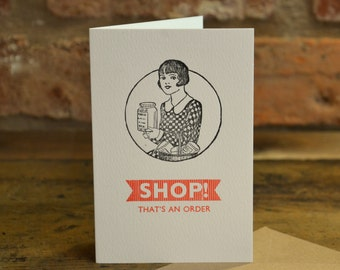 Shop! Letterpress card