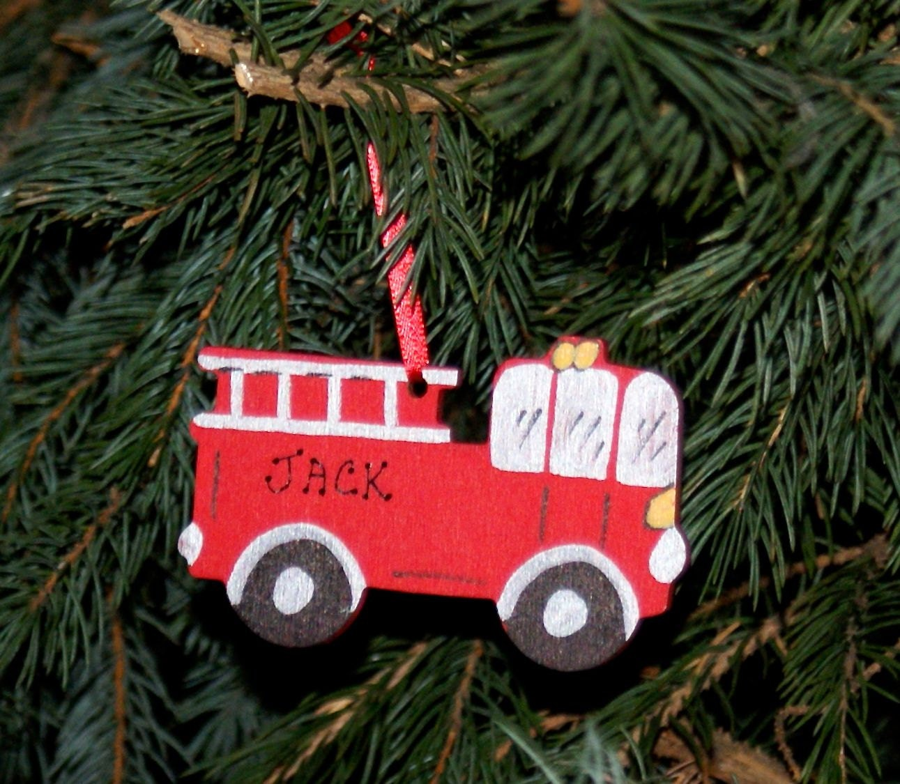Personalized Ornament FIRE TRUCK. Painted Wood Ornament Red.
