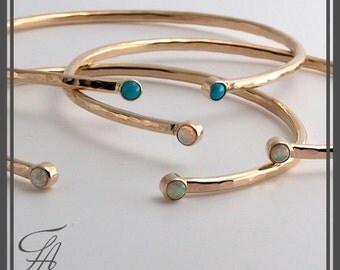 Cuff Bracelet Wrist Wedding Jewelry Gold cuf, Bridal Jewelry Oval Bracelet 14K solid Gold Gold Bracelet,Double Stone,Turquoise stone