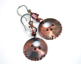Boho Dangle Earrings - Hammered Copper with Antique Pink Glass Bead and Patina