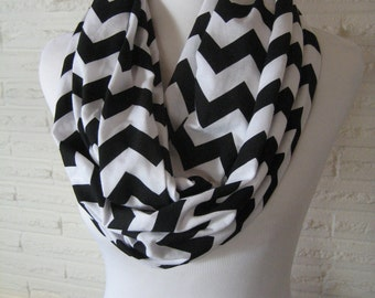 Black and White Chevron LONG figure 8 Infinity loop Scarf - cotton Jersey Knit multiloop scarf - Chevron Scarf