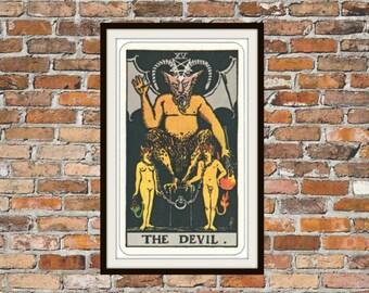 The Devil XV Rider-Waite-Smith Tarot Card Deck Vintage Retro 1910 Art Reproduction Print Poster Small Medium