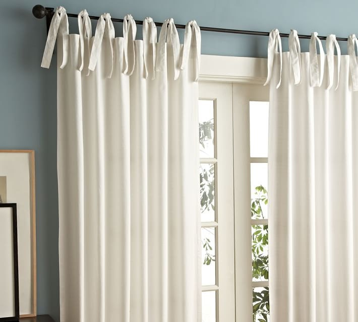 white tie top 52 39 39 cotton curtains drapes by thenewhome1. Black Bedroom Furniture Sets. Home Design Ideas