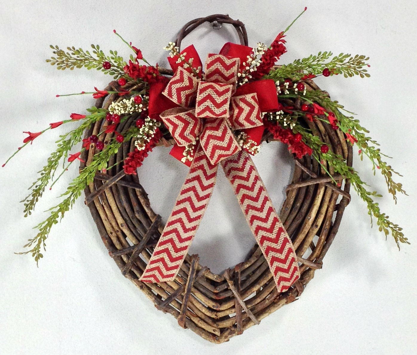 Valentine Wreath Heart Wreath Rustic Wreath By