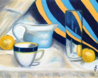 So Deep in Blue- Still Life Oil Pastel(Original)