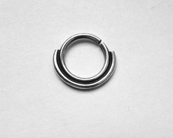 Double Septum Ring - Piercing Hoop - Nostril - Helix - Eyebrow - Daith - Tragus - Conch - Rook - Nickel Free Sterling Silver