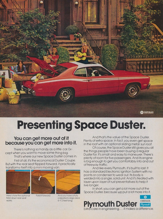 1972 plymouth duster car photo ad vintage advertising print. Black Bedroom Furniture Sets. Home Design Ideas