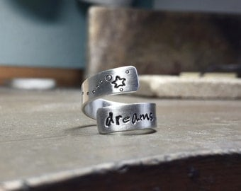 925 silver ring Dreams, personalized with custom text, wrap ring size adjustable