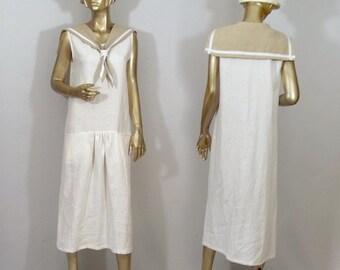 1920s, sailors dress, linen, flapper dress, white, maxi, vintage style, bridesmaid dress, sundress plus size. Free shipping in USA.