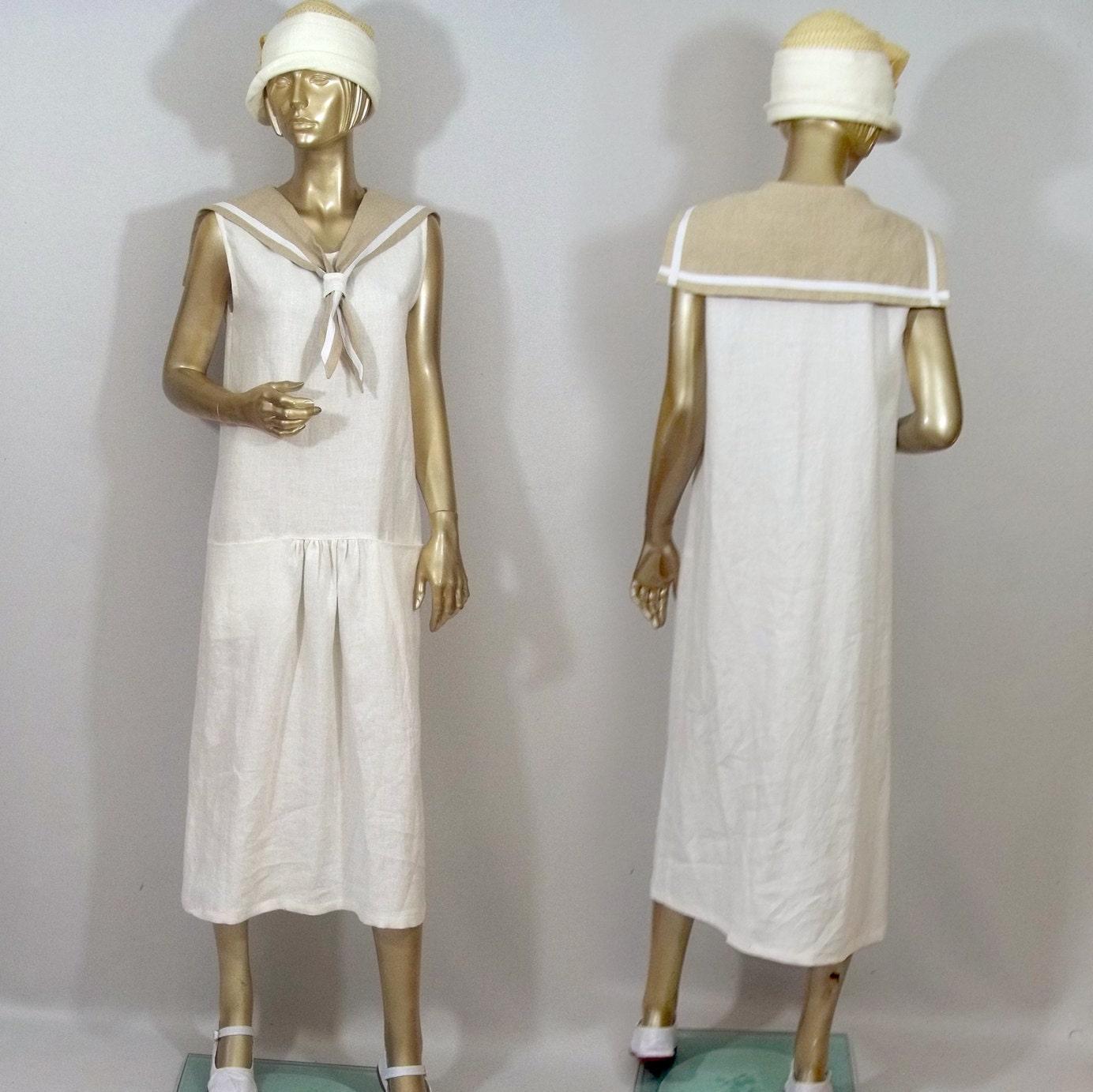 1920s sailors dress linen flapper dress white maxi zoom ombrellifo Gallery
