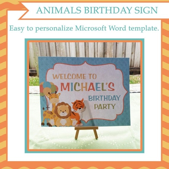 Birthday animals table sign editable template microsoft for Etsy shop policies template