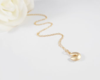 FREE US Ship Tiny Gold Fortune Cookie Necklace On Gold Filled Chain Minimalist Necklace Dainty Gold Fortune Cookie Layering Necklace
