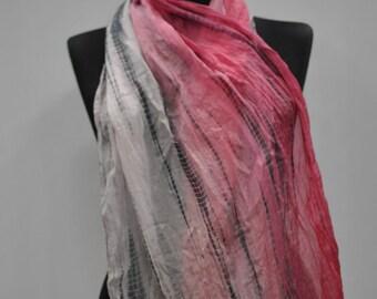 Vintage HANDMADE SILK scarf , hand rolled silk scarf , hand painted silk scarf....(766)