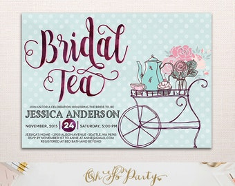 BRIDAL TEA Custom Bridal Shower Party Invitation // Bridal Tea Invitation // Bridal Shower Invitations