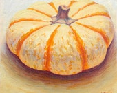 Kitchen art, 'Turban Squash', original painting, vegetables, oil, still life, square, realistic, impressionist, free shipping