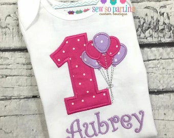 Baby Girl Birthday Outfit - Balloon Birthday Outfit - 1st Birthday Outfit - Pink and purple birthday outfit