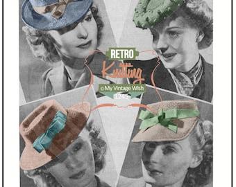Knitting Pattern 1940's Hats -  PDF  Knitting Pattern - Instant Download