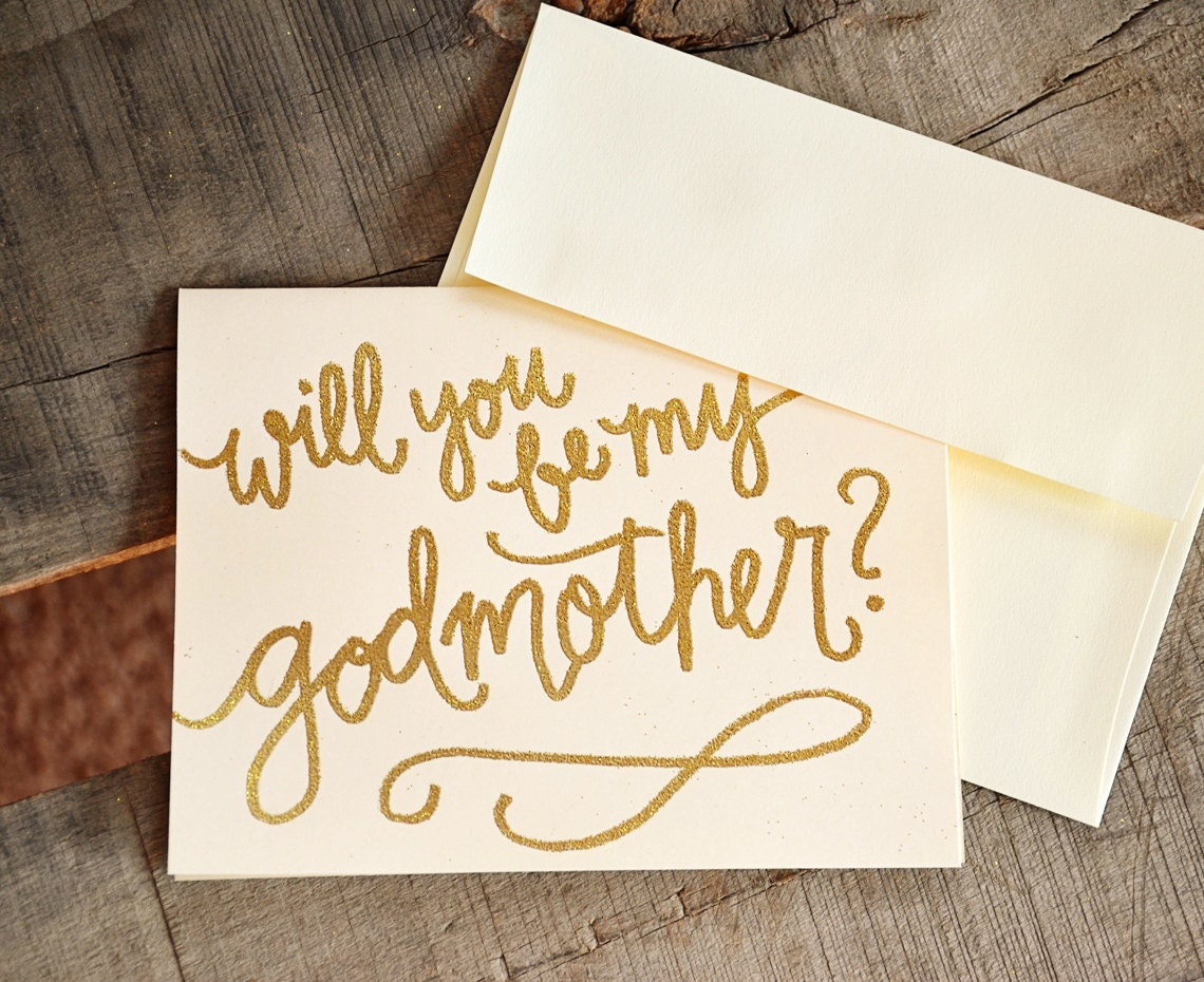 Will You Be My Godmother Card Godfather Card Godparents Card