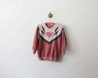 vintage mauve velvet floral pullover