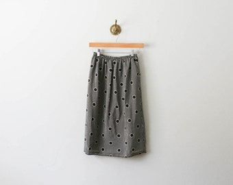 vintage 80s striped spotted brown skirt