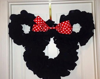 Disney Minnie or Mickey Mouse Burlap Wreath