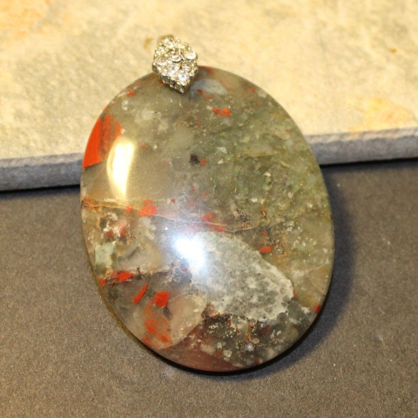 bloodstone gemstone silver pendant with