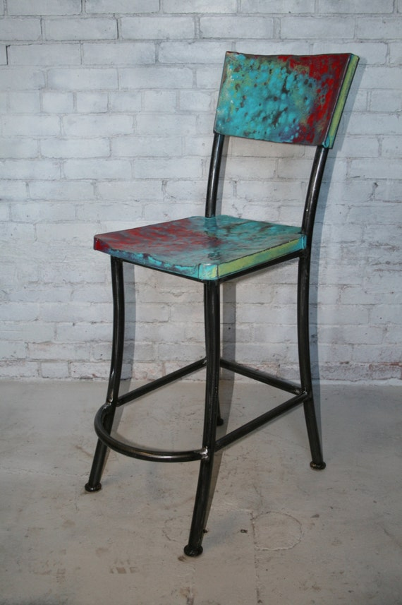 metal bar stool painted canteen style mexican fiesta commercial bar stool with back the