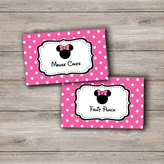 Minnie Mouse Food Tent Cards with Editable Text in Pink Personalized Pink Mouse Food Card Minnie Mouse Printable Party Minnie Mouse Party  sc 1 st  Etsy & Minnie Mouse Food Tent Cards with Editable Text in Pink