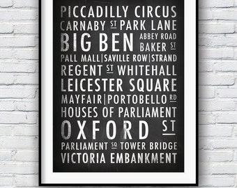 London Print, London typography, London street sign, Poster, Wall art, Typographic print