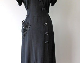 1940s Dress with Encrusted Pocket