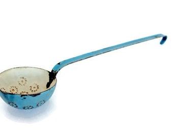 SALE Blue Enamel Slotted Dipper, Long Handle Spoon Ladle