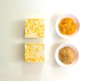 Sale - CHAMOMILE CALENDULA Soap Unscented Soap Chamomile Soap Facial Soap Natural Handmade Soap Vegan Oat Soap Soothing Soap Sensitive Skin