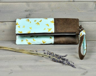 Libertine - Fold Over Clutch Purse Ladies Zipped Pouch Blue Gold Swallow Bird Brown Leather Cross Body Bag Wedding Clutch Bridesmaid Gift