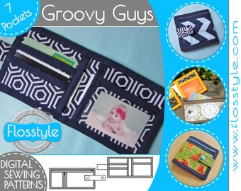 GROOVY GUYS WALLET sewing pattern with 7 pockets for men / boys zipper coin and notes clear id ...
